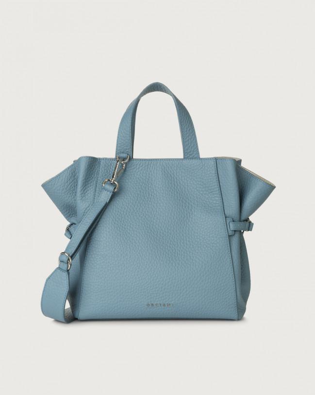 Orciani Fan Soft medium leather handbag Leather Light Blue