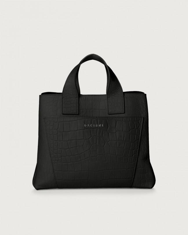 Orciani Nora Kindu croc-effect leather handbag Leather Black