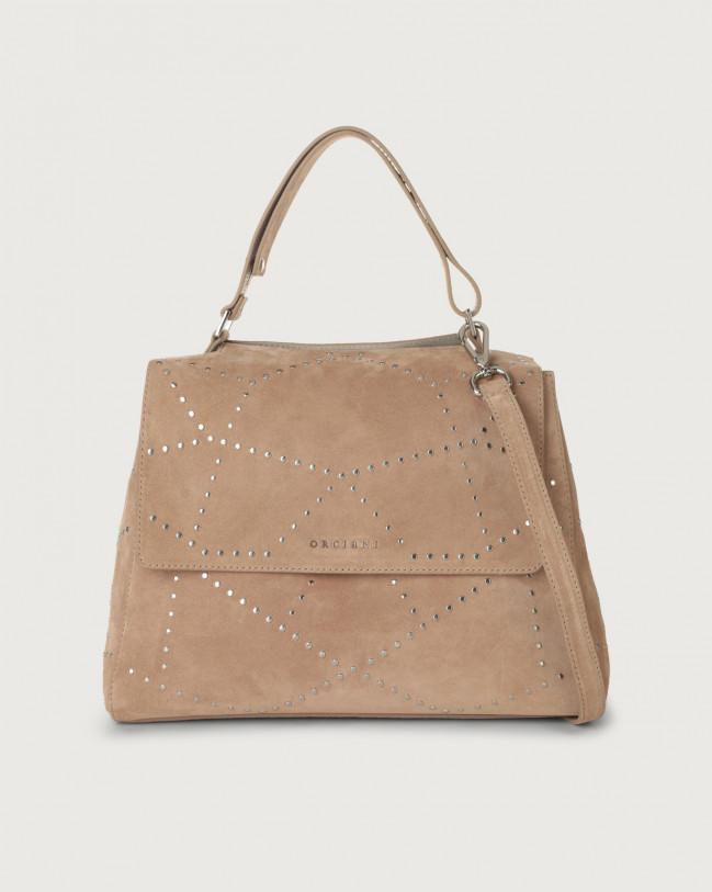 Orciani Sveva Savage medium suede shoulder bag with strap Suede Sand