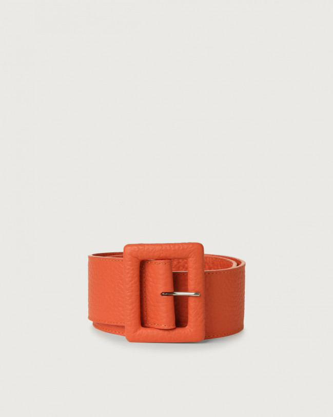 Orciani Soft high waist leather belt Leather Coral