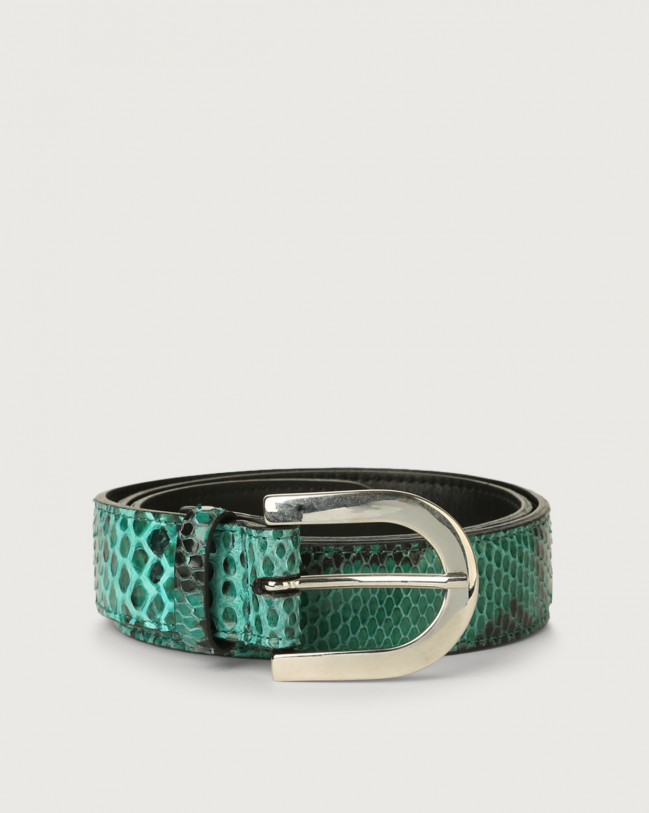 Orciani Diamond pyhton leather belt Python Leather Emerald Green
