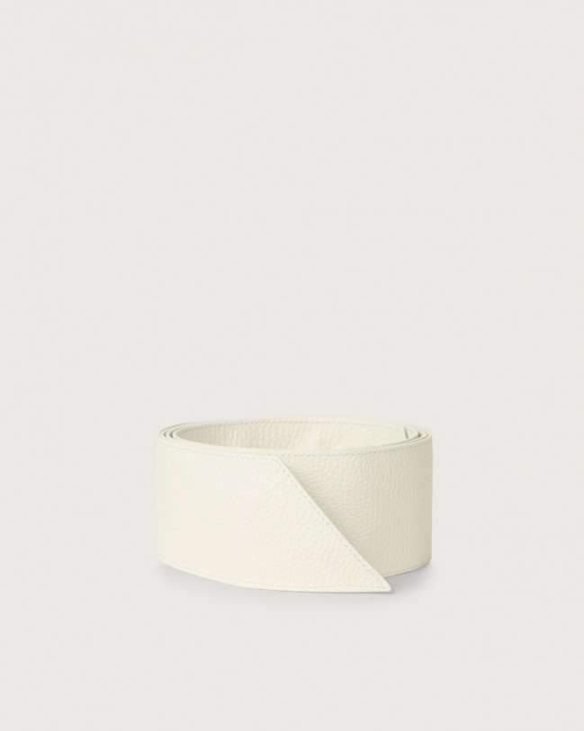 Orciani Micron grained leather sash belt Leather White