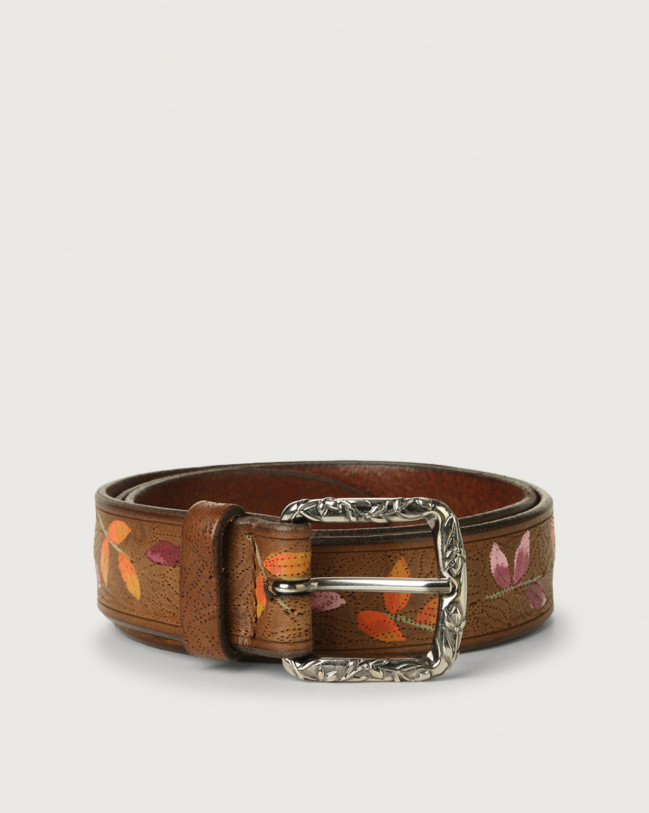 Orciani Leaf leather belt Leather Cognac