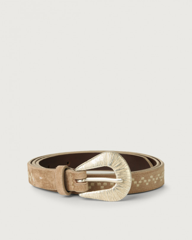 Orciani Savage thin suede leather belt Suede Sand