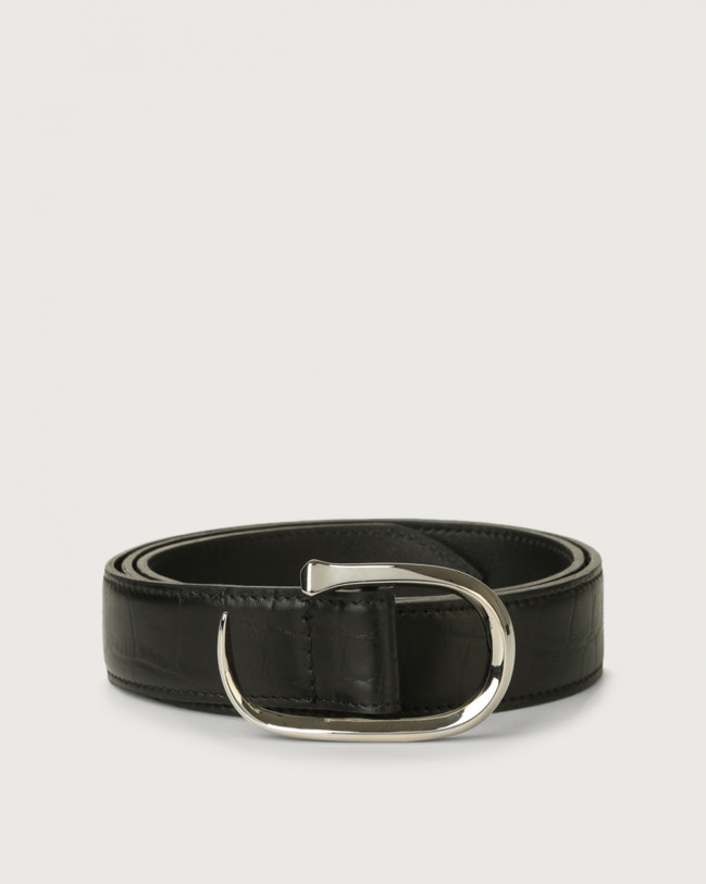 Orciani Kindu croc-effect leather belt Leather Black