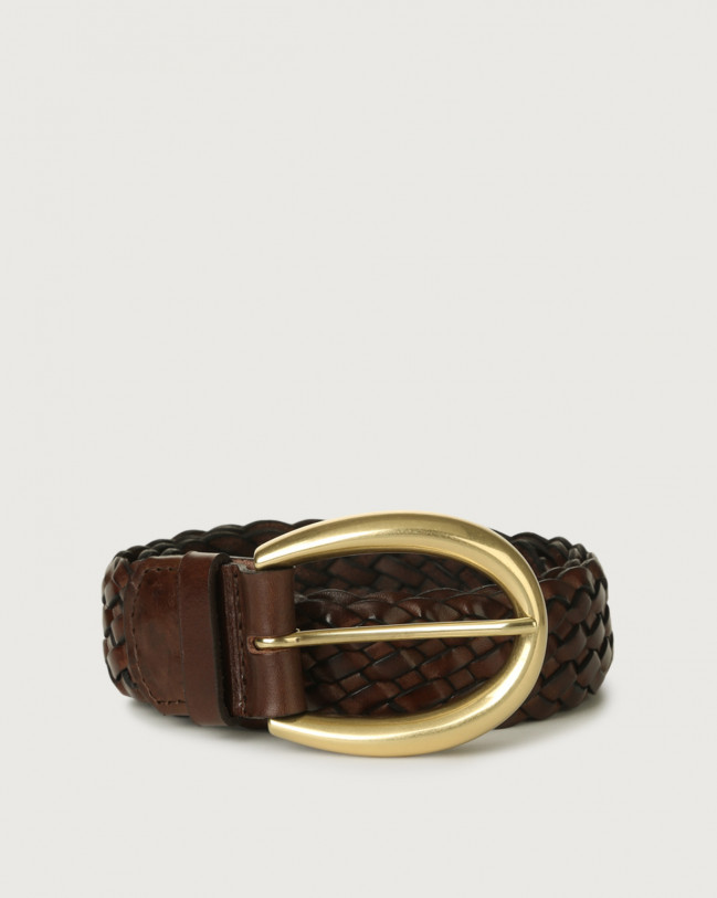 Orciani Masculine woven leather belt 3,5 cm Leather Chocolate