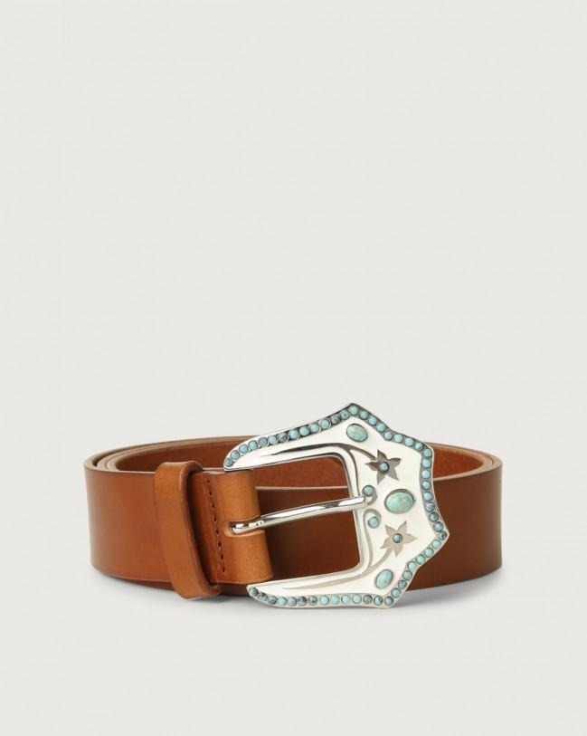 Orciani Bull jewel buckle leather belt Cognac