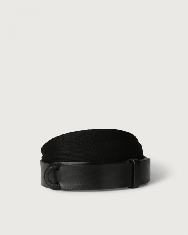 Orciani Leather and fabric Bull Nobuckle belt Leather & fabric Black