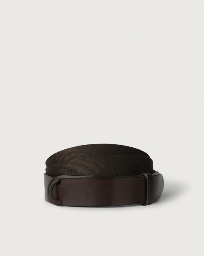 Orciani Leather and fabric Bull Nobuckle belt Leather & fabric Chocolate