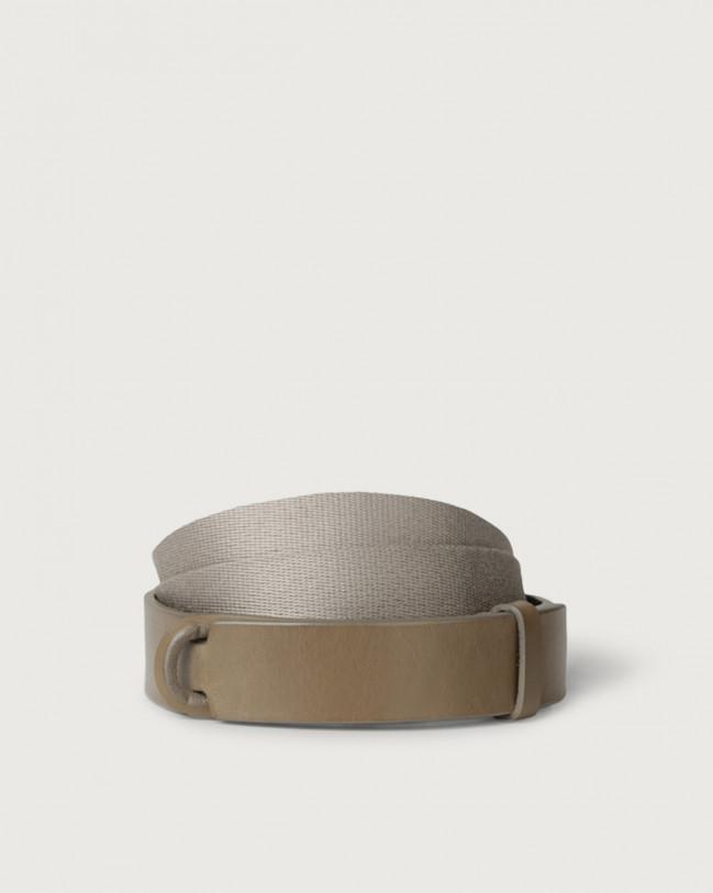 Orciani Leather and fabric Bull Nobuckle belt Leather & fabric Taupe