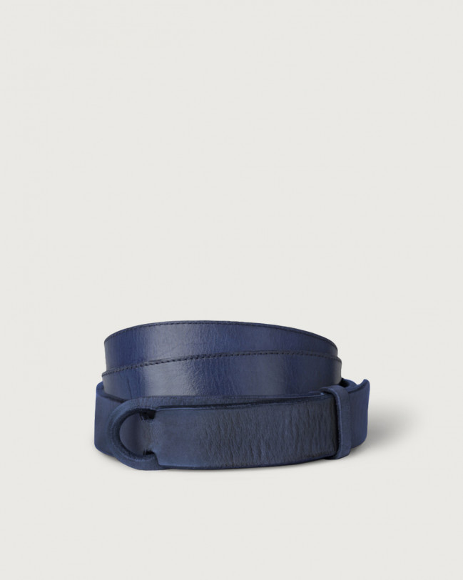 Orciani Dive leather Nobuckle belt Leather Iris Blue
