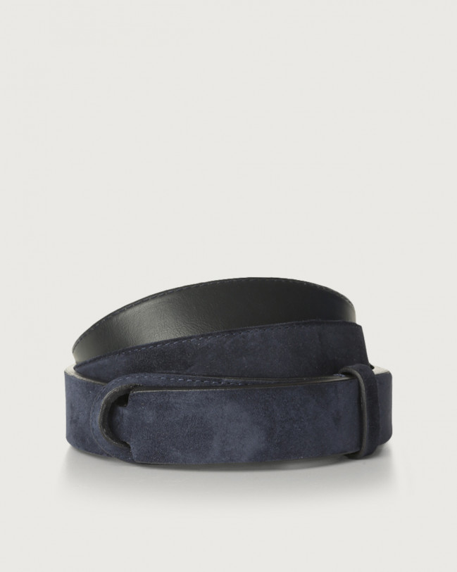 Orciani Camoscio suede and leather Nobuckle belt Suede Blue