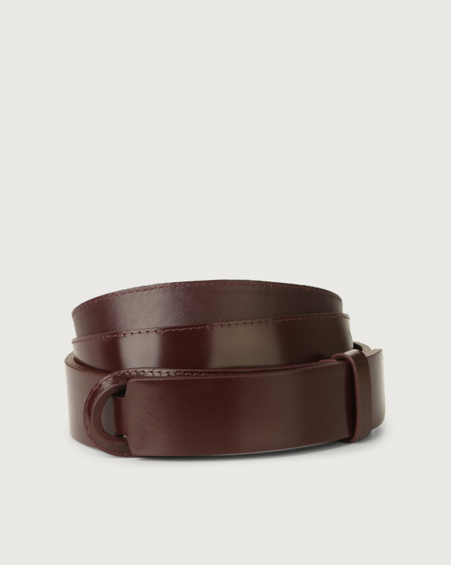 Orciani Bright leather Nobuckle belt Leather Bordeaux