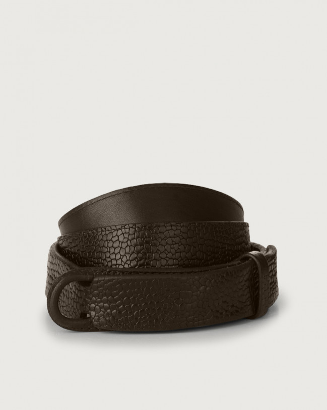 Orciani Grit leather Nobuckle belt Embossed leather Chocolate