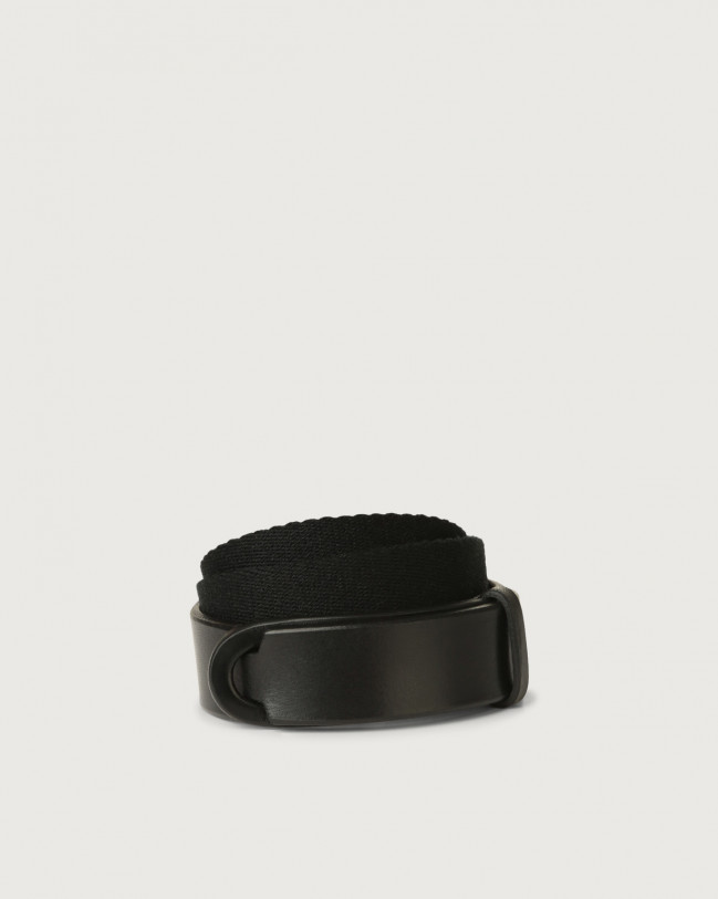 Orciani Bull leather and fabric Nobuckle Kids belt Leather & fabric Black