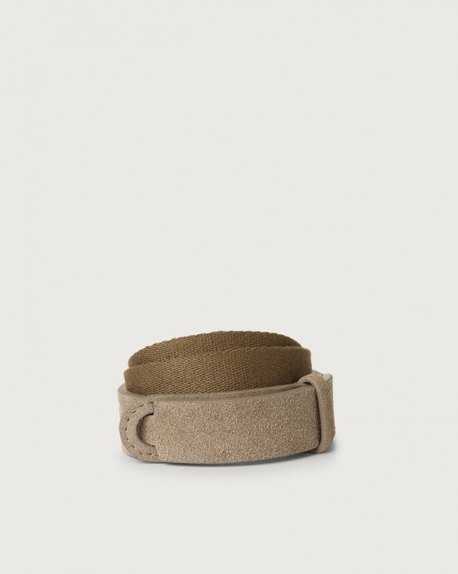 Orciani Suede and fabric Suede Nobuckle Kids belt Suede Taupe