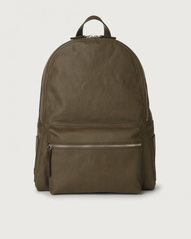 Orciani Leisure fabric and leather backpack Leather & fabric Chocolate