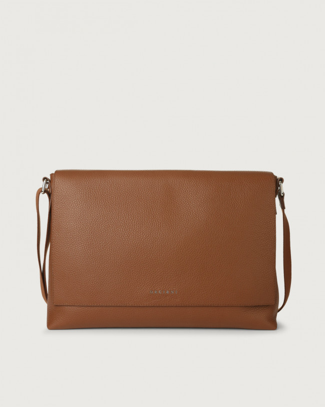 Orciani Micron leather messenger bag Leather Burnt