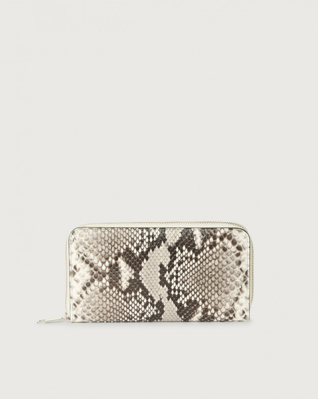 Orciani Diamond large python leather wallet with zip Python Leather White