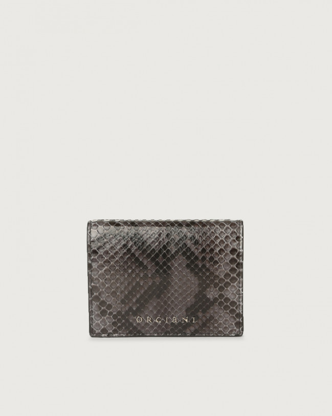 Orciani Diamond small python leather wallet Python Leather Charcoal Grey