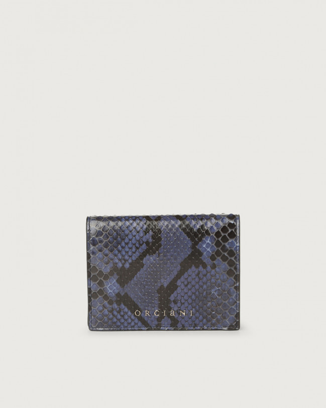 Orciani Diamond small python leather wallet Python Leather Deep Blue