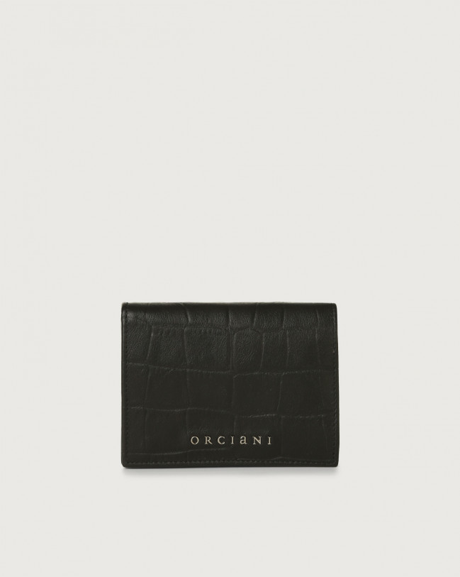 Orciani Kindu small croc-effect leather wallet Embossed leather Black