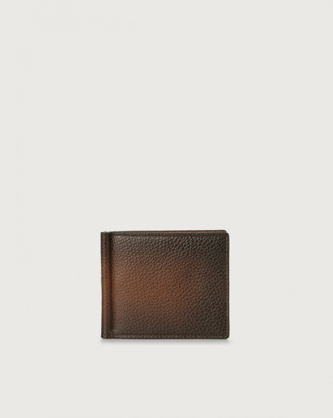 Orciani Micron Deep leather wallet with money clip Leather Burnt