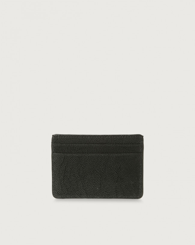 Orciani Frog leather card holder Embossed leather Black