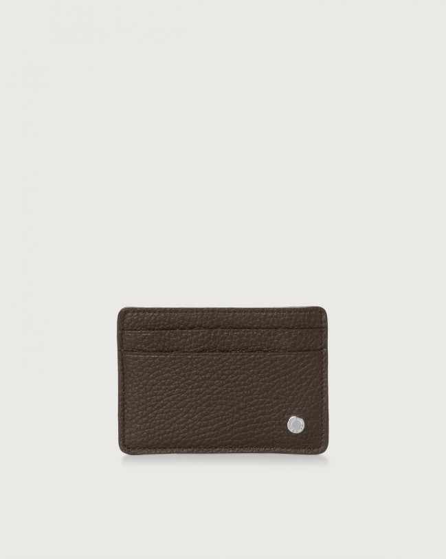 Orciani Micron leather card holder Chocolate