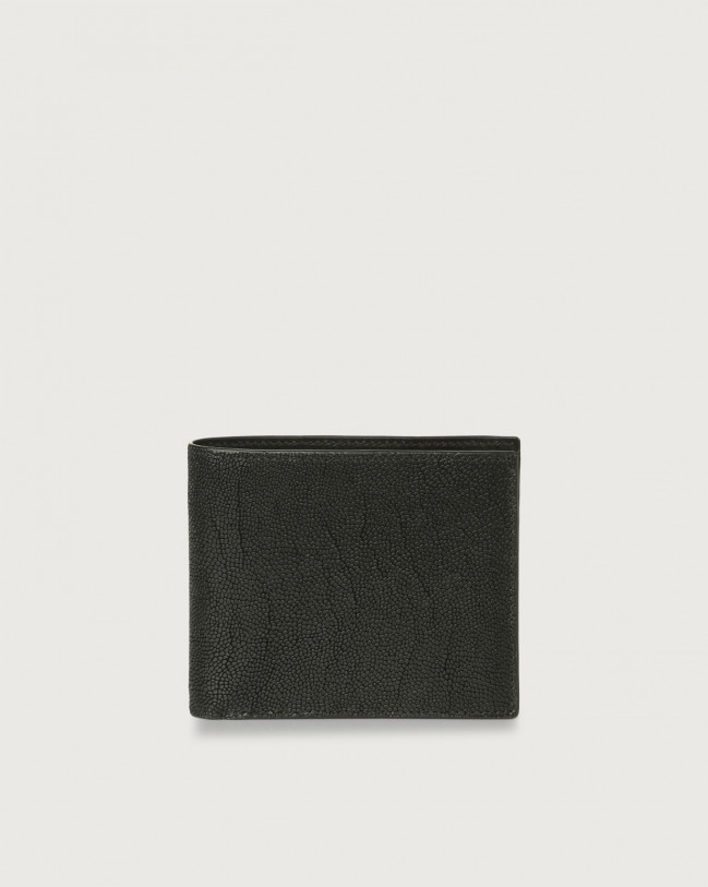 Orciani Frog leather wallet with coin pocket Embossed leather Black