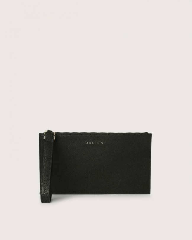 Orciani Frog leather pouch with wristband Embossed leather Black