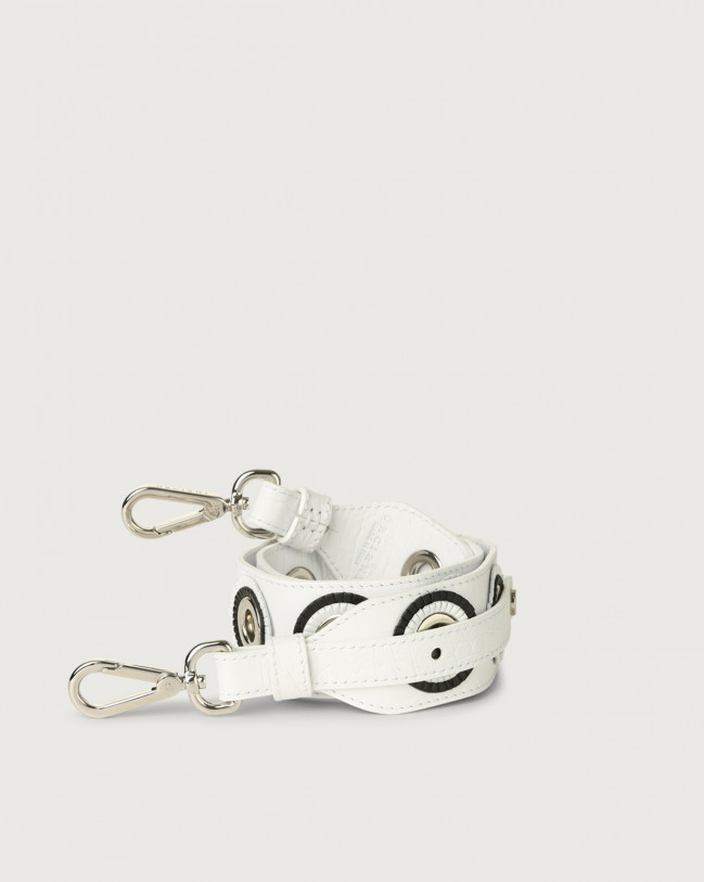 Orciani Kindu croc-effect embossed leather strap Embossed leather White
