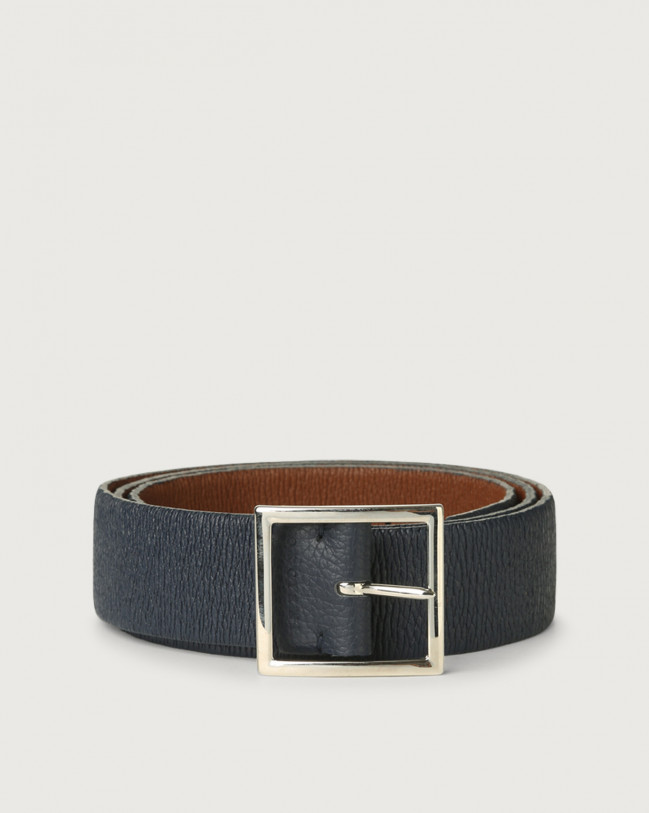 Orciani Micron Double reversible leather belt Leather Navy+Burnt
