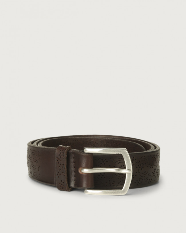 Orciani Bull Soft leather belt 3,5 cm Leather Chocolate