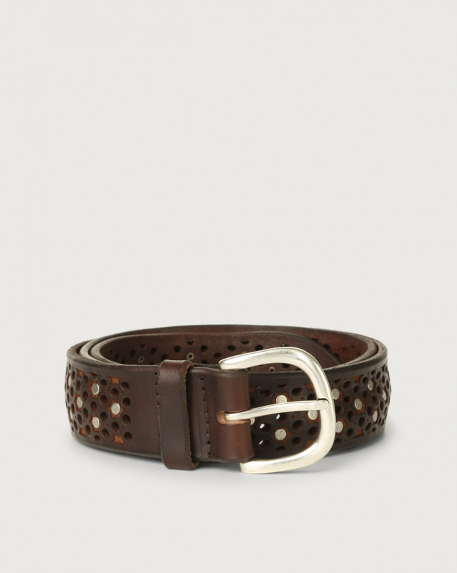 Orciani Bull Soft micro-studs leather belt 3,5 cm Leather Chocolate