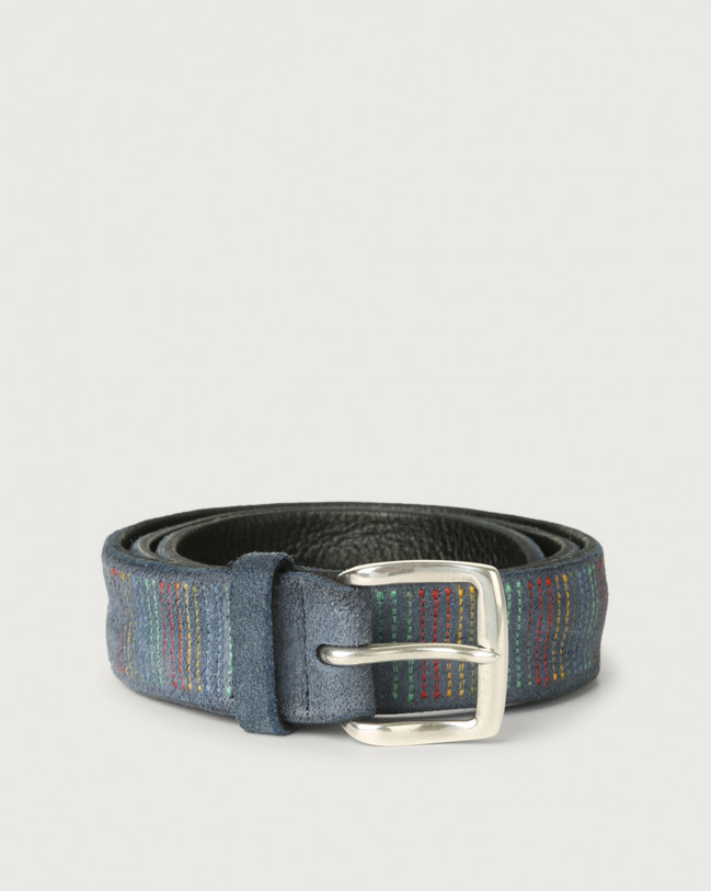 Orciani Cloudy Stripe suede leather belt Suede Denim