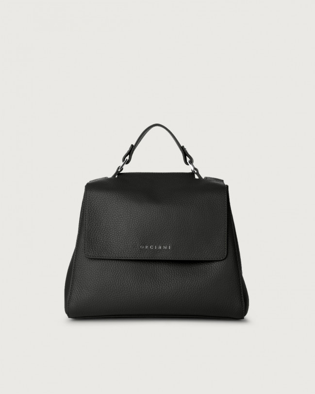 Orciani Sveva Micron small leather handbag with strap Leather Black