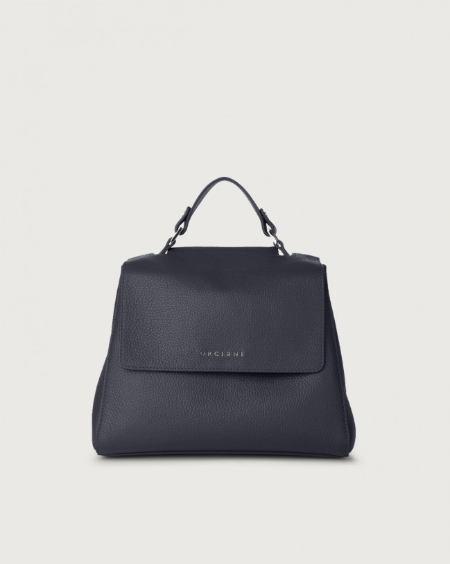 Orciani Sveva Micron small leather handbag with strap Leather Navy