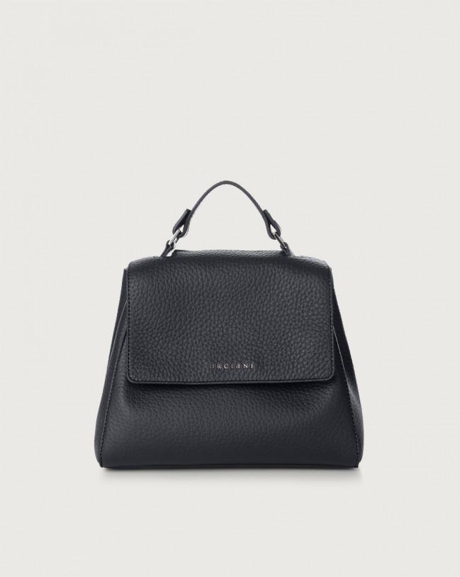 Orciani Sveva Soft small leather handbag with strap Leather Navy