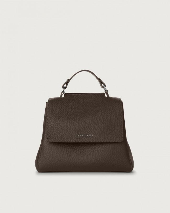 Orciani Sveva Soft small leather handbag with strap Leather Chocolate