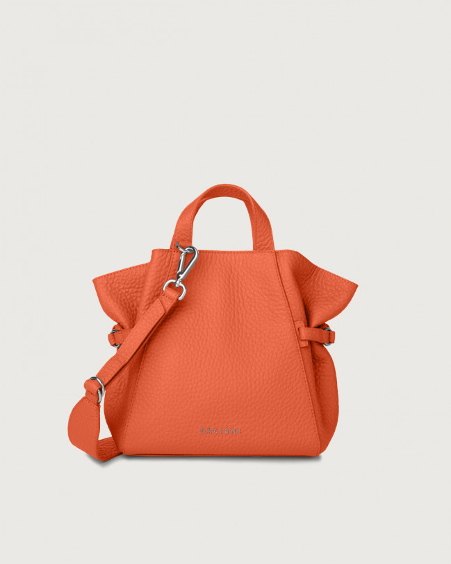 Orciani Fan Soft small leather handbag Leather Coral