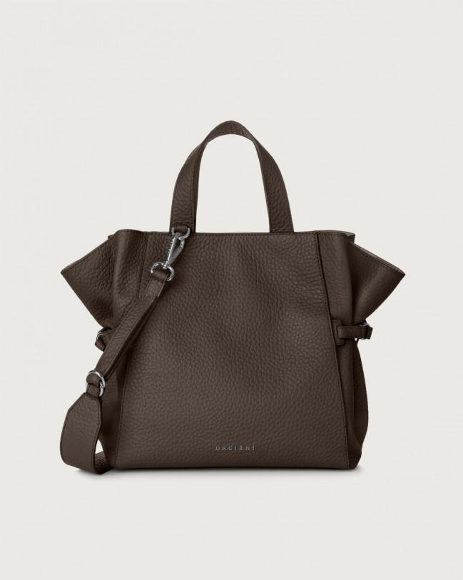 Orciani Fan Soft medium leather handbag Leather Chocolate