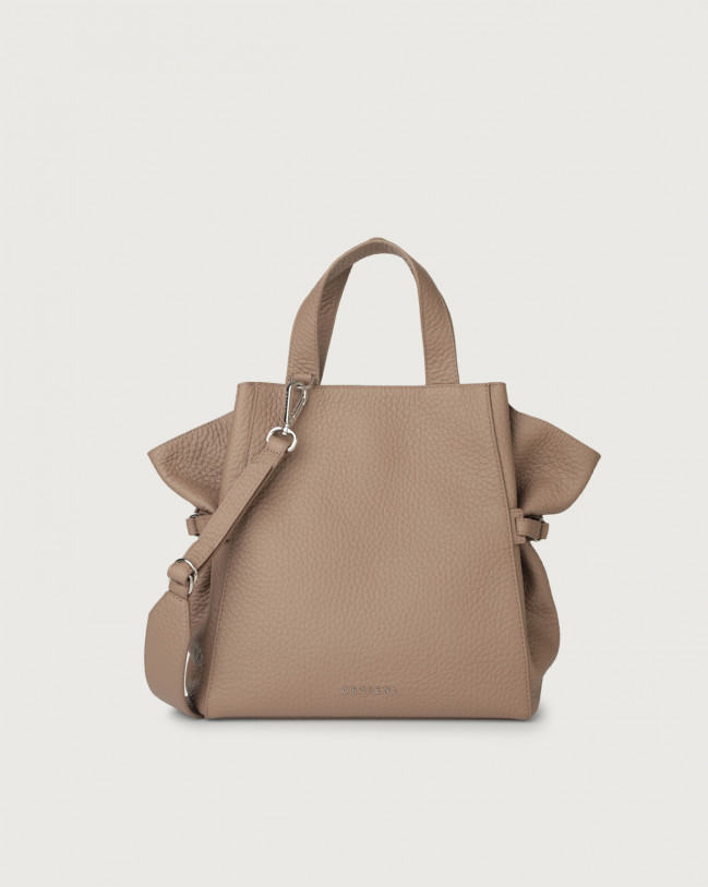 Orciani Fan Soft medium leather handbag Leather Taupe