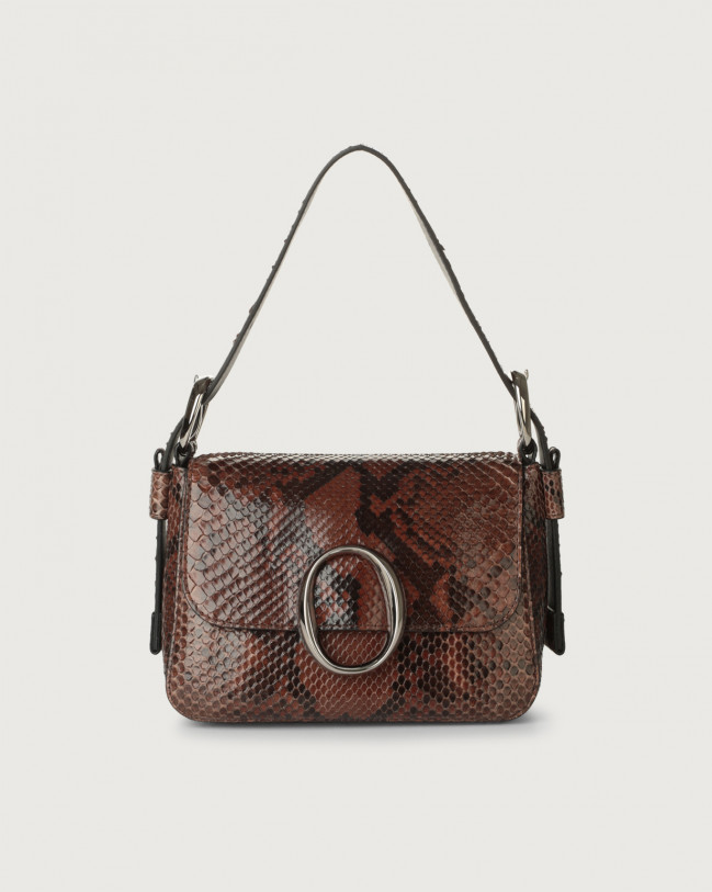 Orciani Soho Diamond pyhton leather mini bag with strap Python Leather Cocoa brown