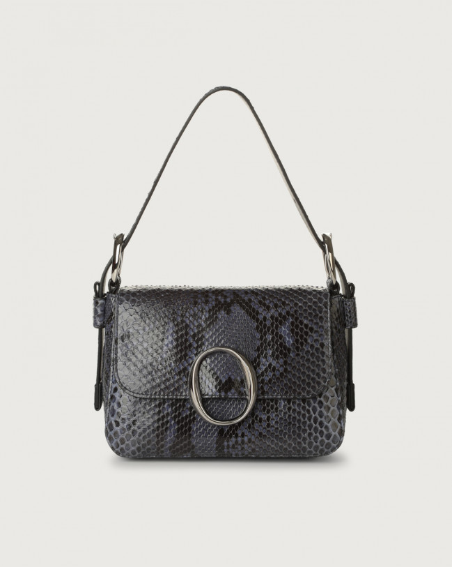 Orciani Soho Diamond pyhton leather mini bag with strap Python Leather Deep blue