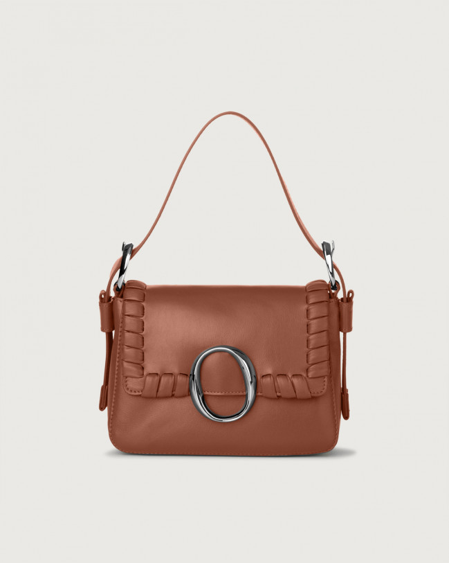 Orciani Soho Liberty leather mini bag with strap Leather Cognac