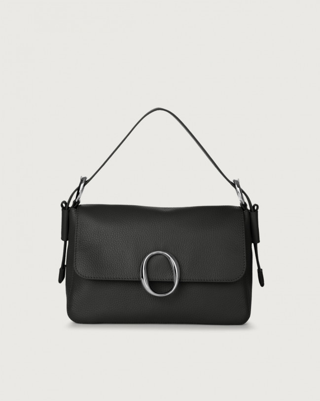 Orciani Soho Micron leather baguette bag with strap Leather Black