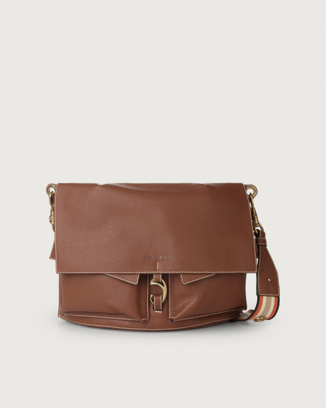 Orciani Scout Fanty leather shoulder bag Leather & fabric Cognac