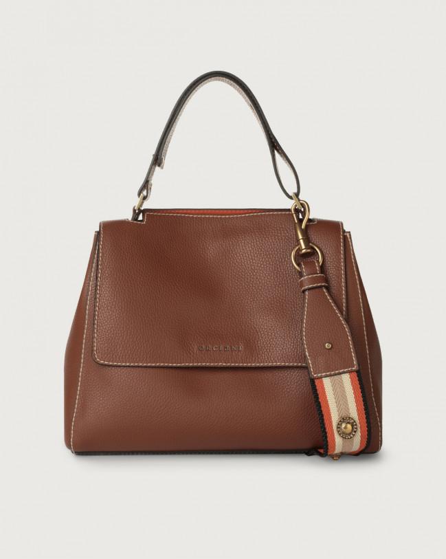 Orciani Sveva Fanty medium leather shoulder bag with strap Leather & fabric Cognac