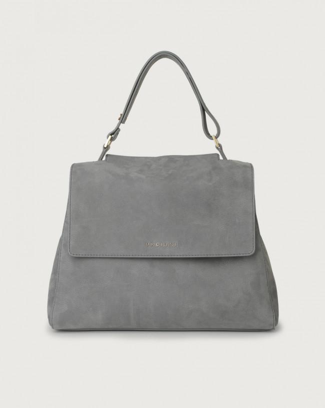 Orciani Sveva Alicante medium nabuck leather shoulder bag with strap Nabuck Light grey